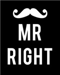 Mr right white text