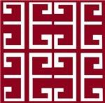 Crimson and White Tile