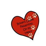 Boxers Leave Paw Prints On My Heart Design