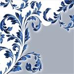 Blue On White Leafy Flourish