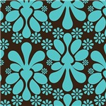Large Turquoise and Brown Plump Damask