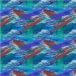 Blue, Green, and Burgundy Abstract Brush Strokes