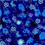 Blue on Blue Flowers and Butterflies Pattern