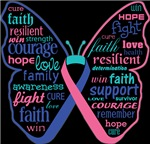 Thyroid Cancer Butterfly Collage of Words Shirts