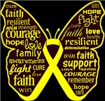 Ewing Sarcoma Butterfly Collage of Words Shirts
