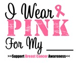 I Wear Pink Grunge Style Breast Cancer Shirts