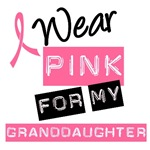 I Wear Pink Ribbon For Granddaughter Label Shirts