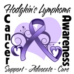 Floral Heart Ribbon Hodgkin's Lymphoma Shirts