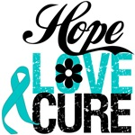 Hope Love Cure Ovarian Cancer Shirts and Gifts