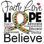 Faith Love Hope Autism Awareness Shirts