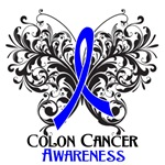 Butterfly Floral Colon Cancer Shirts and Gifts