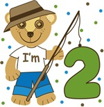 Second Birthday Bear I'm 2 Fishing Buddy