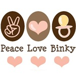 Peace Love Binky Baby Girl Pink Brown