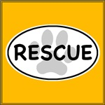 Rescue Paw White Oval