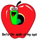 Green Worm in Red Apple