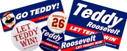Presidents Race Buttons, Stickers, and Signs