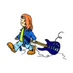 boy dragging broken blue guitar