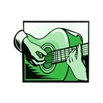 acoustic guitar hand playing green graphic