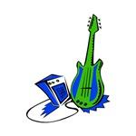 electric guitar n amp green blue musical instrumen