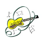 acoustic guitar abstract yellow notes
