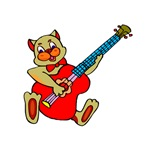 cat playing red bass guitar