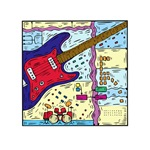 drumset guitar collage red blue