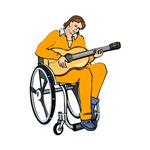 guitarist in wheelchair orange