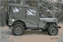 42 Ford GPW jeep in woods