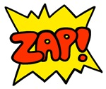 Zap delivered in the sytle of old Batman cartoons and comic books.  Get your Zap! t-shirt before it dissapears.