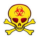 Yellow Biohazard Skull & Crossbones