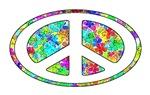 Oval PEACE Symbol, Groovy Flowers