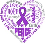 Pancreatic Cancer Heart Words Shirts