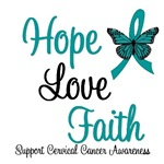 Hope, Love Faith Cervical Cancer T-Shirts