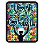 Autism Fight Like A Girl Badge