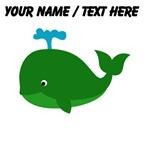 Custom Green Cartoon Whale