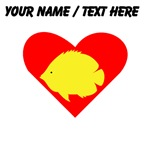 Custom Yellow Tropical Fish Heart