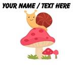 Custom Cartoon Snail On Mushroom