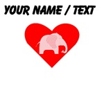 Custom Pink Polka Dots Elephant Heart
