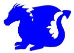Blue Baby Dragon Silhouette