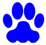 Blue Big Cat Paw Print
