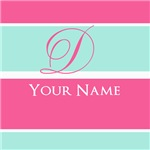 Pink and Teal Monogram Customized