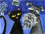 Black cat and Schnauzer Pals