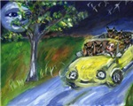 Australian Cattle Dog night time car