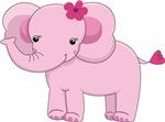 Cute Pink Baby Girl Elephant