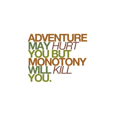 Adventure may hurt you but monotony will kill you