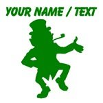 Custom Green Dancing Leprechaun Silhouette