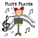 Stick Figure Flute Player T-shirts and Gifts