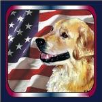 Golden Retriever Patriotic USA Flag Designs