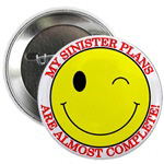 Sinister Smiley Face Funny Buttons & Magnets