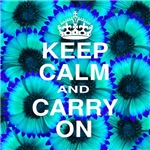 Keep Calm and Carry On Blue Floral